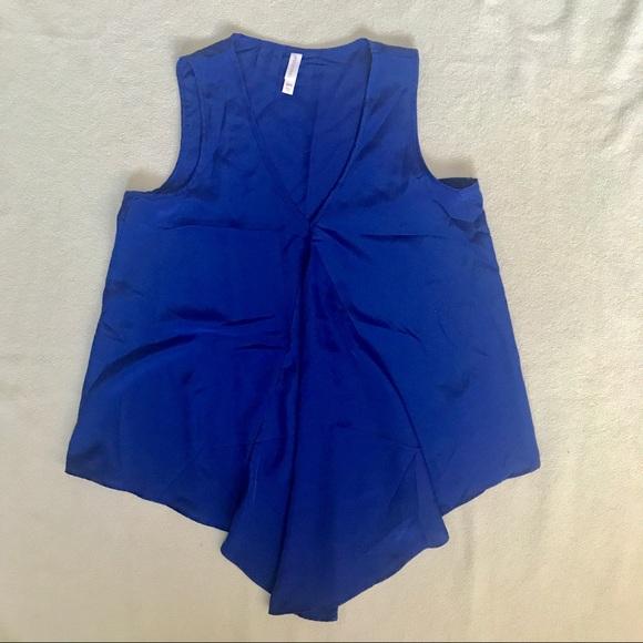 Xhileration pleated indigo blouse